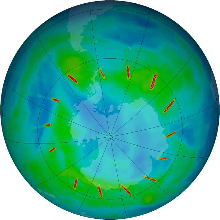 Antarctic ozone map for 16 April 2010